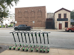 Row of Lime scooters