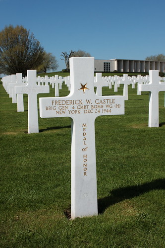 Grave of Brigadier General Frederick Walker Castle recipient of the Medal of Honor Henri-Chapelle American Cemetery and Memorial Belgium