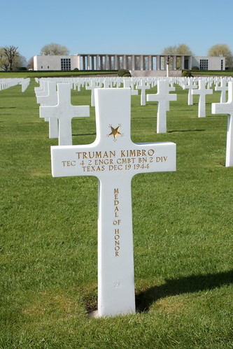 Grave of Technician 4th Grade Truman Carol Kimbro recipient of the Medal of Honor Henri-Chapelle American Cemetery and Memorial Belgium