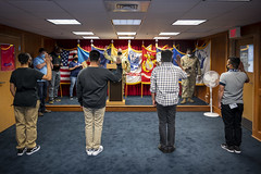 Future Sailors, Soldiers and Airmen take the oath of enlistment at the Military Entrance Processing Station Fort Dix.