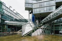 Futuristic building of Norddeutsche Landesbank (NORD LB) made of glass and metal by Behnisch Architekten