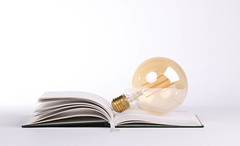 Lightbulb on the open book