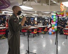 Capt. Pete Riebe observes Lesbian, Gay, Bisexual and Transgender Pride Month aboard USS Theodore Roosevelt (CVN 71).