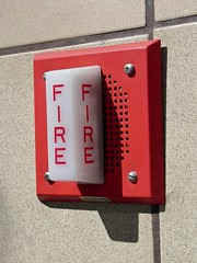 Wheelock fire alarm speaker/strobe in Ballston pedestrian bridge