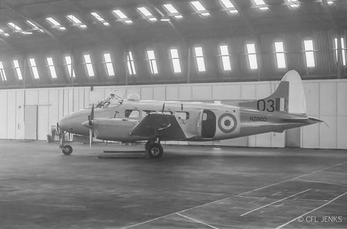 RNZAF Devon NZ1803 in the hangar at Wigram, early May 1967