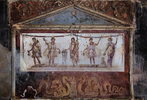 Painted back wall in the Thermopolium tavern in Pompeii