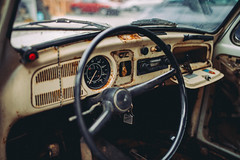 Rusty vintage volkswagen interior