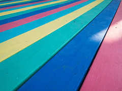 Colorful wooden deck