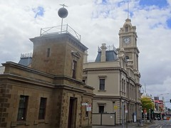 Geelong. Ryrie Street with the 1858 Telegraph Station with the timeball and the 1890 Post Office.