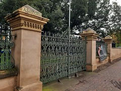 Ashford. Adelaide. The impressive 19th century cast iron gates and wall to the Everard family mansion called Ashford. Earliest part of Ashford house built in 1838. On Anzac Highway.
