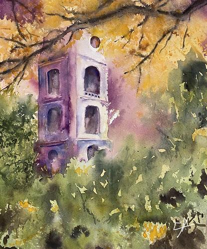 Jeux de lumières sur la tour de Cambron-Casteau