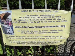 Stairway to heaven memorial, Bethnal Green tube station, London, UK