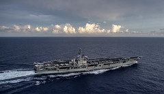 USS Nimitz (CVN 68) transits the Philippine Sea while participating in dual carrier operations with USS Theodore Roosevelt (CVN 71).