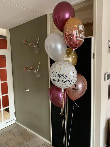 Ballonboeket Verjaardag Rose Goud Burgundy