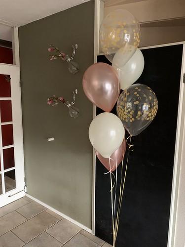 Ballonboeket Confettiballonnen Goud Rose Goud