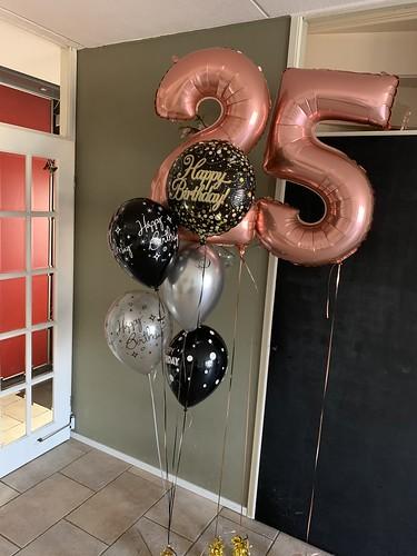 Ballonboeket Verjaardag 25 Jaar Rose Goud