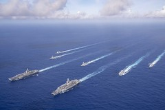 The Theodore Roosevelt and Nimitz Carrier Strike Groups operate in the Philippine Sea.