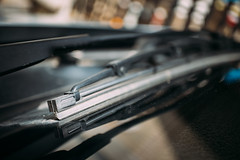 Close-up of car windshield wipers