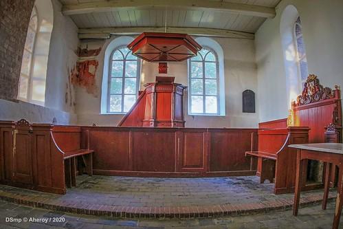 Church,Interior pulpit. Oostum, Groningen, the Netherlands