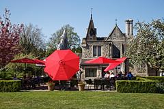 City of London Cemetery and Crematorium ~ Café patio garden red umbrellas 02