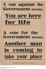 """""""A vote against the Government"""" poster / Affiche « Un vote contre le gouvernement »"""