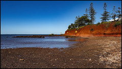 Low Tide at Cement Cliffs of Scarborough on a cloudless winters day