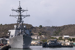 USS Fitzgerald (DDG 62) is moored pierside at Naval Station Guantanamo Bay.