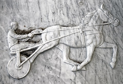 Amos grave City of London Cemetery horse and trap relief grey veined white marble 1