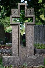 Art Deco cut out open cross headstone City of London Cemetery brighter warmer