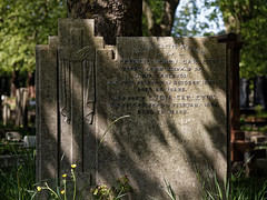 Art Deco gravestone City of London Cemetery Carleton 1935 darker warmer