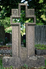 Art Deco cut out open cross headstone City of London Cemetery brighter cooler