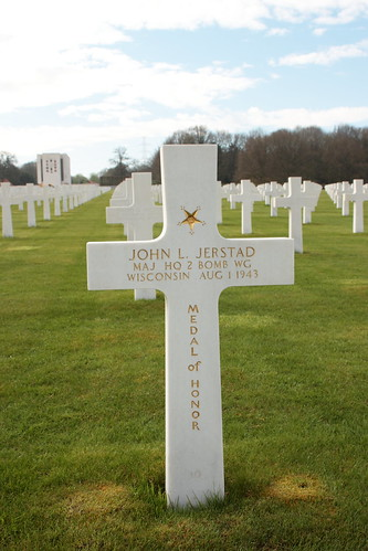 Grave of Major John Louis Jerstad recipient of the Medal of Honor  Ardennes American Cemetery and Memorial Neupré Belgium