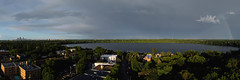 Aerial view of Lake Harriet from Linden Hills, with rainbow