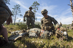 A corpsman provides tactical combat casualty care during a squad fire and movement range at the Haltdalen Training Facility in Haltdalen, Norway.