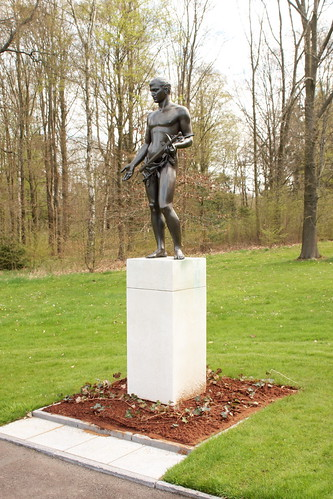 Bronze sculpture representing American Lost Youth Ardennes American Cemetery and Memorial Neupré Belgium