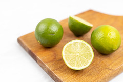 Sliced Lime on the wooden cutting board