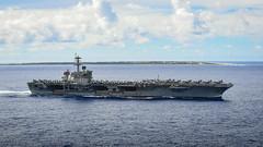 USS Theodore Roosevelt (CVN 71) transits near Wake Island.