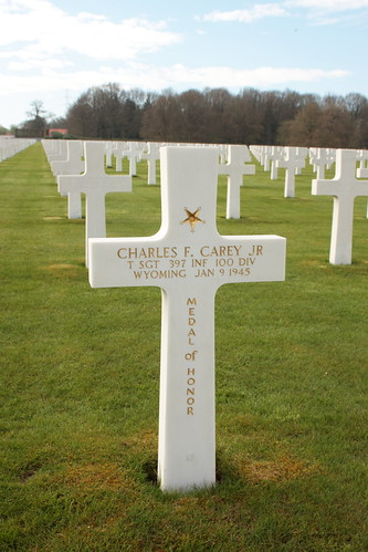 Grave of Technical Sergeant Charles F Carey Jr recipient of the Medal of Honor Ardennes American Cemetery and Memorial Neupré Belgium