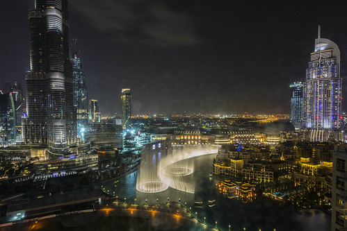 Night Scape of Downtown Dubai and Fountain