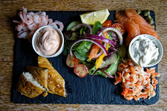 Fish platter at Black Horse Inn, Nuthurst West Sussex England