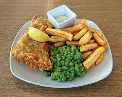 Fish and chips at Sainsbury's Low Hall, Chingford, London