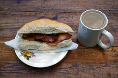 Bacon butty and mug of tea at Copsale Hall, Nuthurst, West Sussex, England