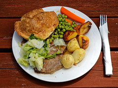 A roast beef dinner at The Queen's Head, Boreham, Essex, England - lighter