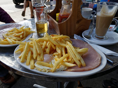 Chips with ham and egg at Epping Essex, England