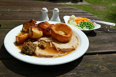 A roast pork Sunday Lunch dinner Newgate Street Hatfield Hertfordshire England