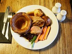 A roast lamb dinner at Black Horse Inn, Nuthurst, West Sussex England