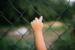 Little girl`s hand on a metal fence closeup. Back view.