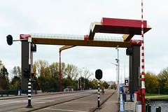 Movable bridge IJdoornlaanbrug over a canal in Amsterdam, back side