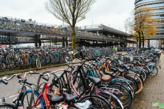 Countless bicycles parked at the Amsterdam's train station