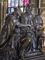 Sculpture of King John signing the Magna Carta at Runnymede in the Chapter House of Salisbury Cathedral